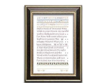 Precious Time sampler. Cross stitch sampler design. Antique sampler pattern. Instant download PDF.