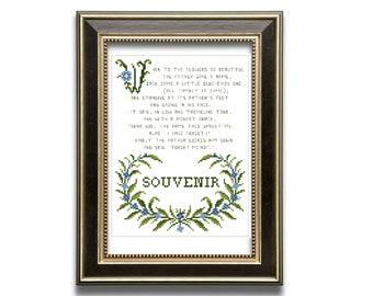 Forget me not poem. Souvenir.  cross stitch pattern PDF. Instant download