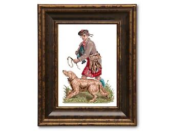Highland hunter. Scottish cross stitch pattern. Instant download PDF.