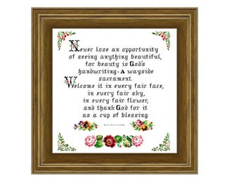 God's handwriting - Cross stitch pattern PDF. Instant download