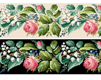Spring bell pull.  Rose border cross stitch pattern. Instant download PDF.