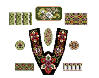 La Mode Illustrée  11 October 1868 - Cross stitch pattern PDF. Instant download