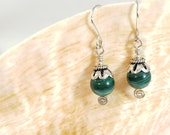 Wire Wrapped Malachite Earrings