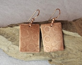 Etched Copper Rectangle Earrings