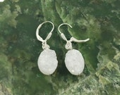Druzy Quartz Sterling Silver Wire-wrapped Earrings