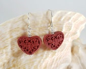 Heart-Shaped Cinnabar Earrings