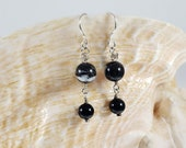 Zebra Jasper, Black Onyx and Silver Earrings