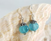 Aqua Dichroic Glass Earrings
