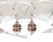 Wire-wrapped Cloisonne & Silver Earrings