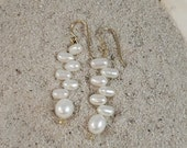 White Freshwater Pearl Zig-Zag Earrings