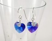 Wire-wrapped Blue Crystal earrings