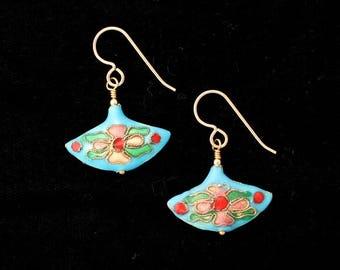 Aqua Cloisonne Fan Earrings