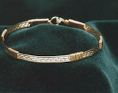 Wire Wrapped Gold and Silver Thin Bangle