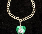 Wire-wrapped Malachite Heart Bracelet G350