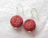Red Cinnabar Disc & Silver Earrings