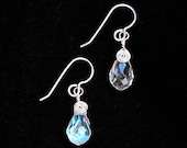 Wire Wrapped Clear Crystal Faceted Briolette Earrings