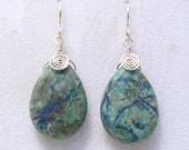 Wire Wrapped Chrysocolla Silver Earrings