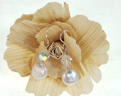Wire Wrapped Freshwater Pearl and Crystal Earrings