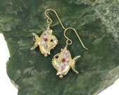 Cloisonne Fish Earrings (Blue or Gold)