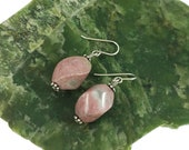 Rhodonite with Quartz Earrings