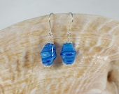 Aqua Millefiori Glass Earrings
