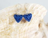 Blue Cinnabar Heart Earrings