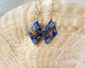 Blue Floral Cloisonne Earrings