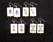 Bone Mah Jong Tile Earrings with Accent Beads