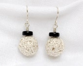 Silver and Black Onyx Wire Mesh Earrings