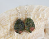 Unakite Leaf Earrings