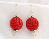Round Cinnabar Earrings