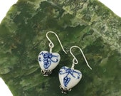 Hand-painted Porcelain Heart Earrings