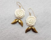 Rose and Gold Leaf Bridal Earrings