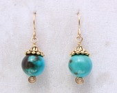 Turquoise and Pewter Earrings
