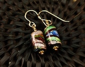 Dichroic Glass and Vermeil Earrings