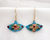 Blue Cloisonne Fan Earrings