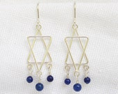 Star of David and Gemstone or Pearl Bead Earrings