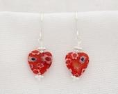 Millefiore Heart Earrings