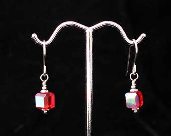 Wire-Wrapped Red Crystal Earrings