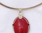 Wire Wrapped Red Mountain Jade Pendant