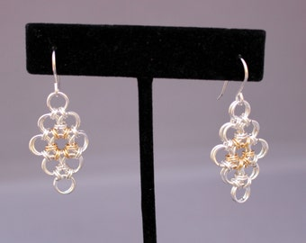 "Chain Maille Japanese ""Diamond"" Earrings"