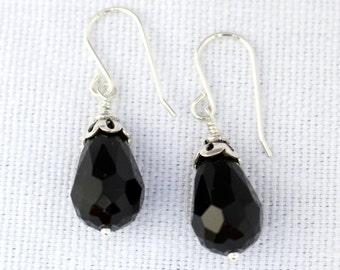 Wire-wrapped Black Onyx Teardrop Earrings F956