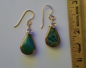 Gold-Dipped Gold Wire-wrapped Turquoise Earrings