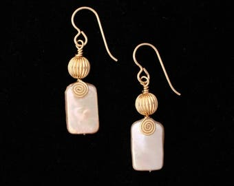 Wire Wrapped Freshwater Pearl and Gold Earrings