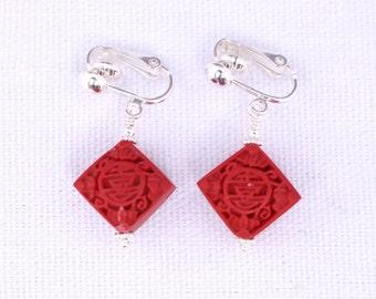 Diamond-shaped Cinnabar Earrings