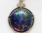 Wire Wrapped Dichroic Glass Pendant