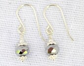 Wire-wrapped Silver faceted crystal earrings