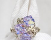 The Three Bead Cluster Wire Wrapped Ring