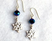 Blue Crystal and Pewter Star of David Earrings