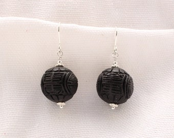 Black Cinnabar Earrings
